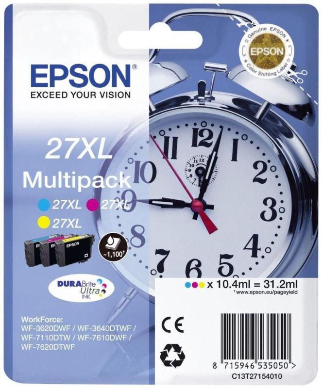 Epson Ink/27XL Alarm Clock Cyan, Magenta, Yellow Multi-pack - C13T27154022