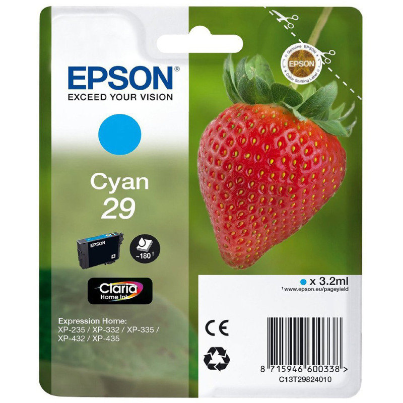 Epson Ink/29 Strawberry 3.2ml Cyan - C13T29824022