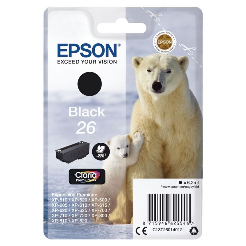 Epson Ink/26 Polar Bear 6.2ml Black - C13T26014022