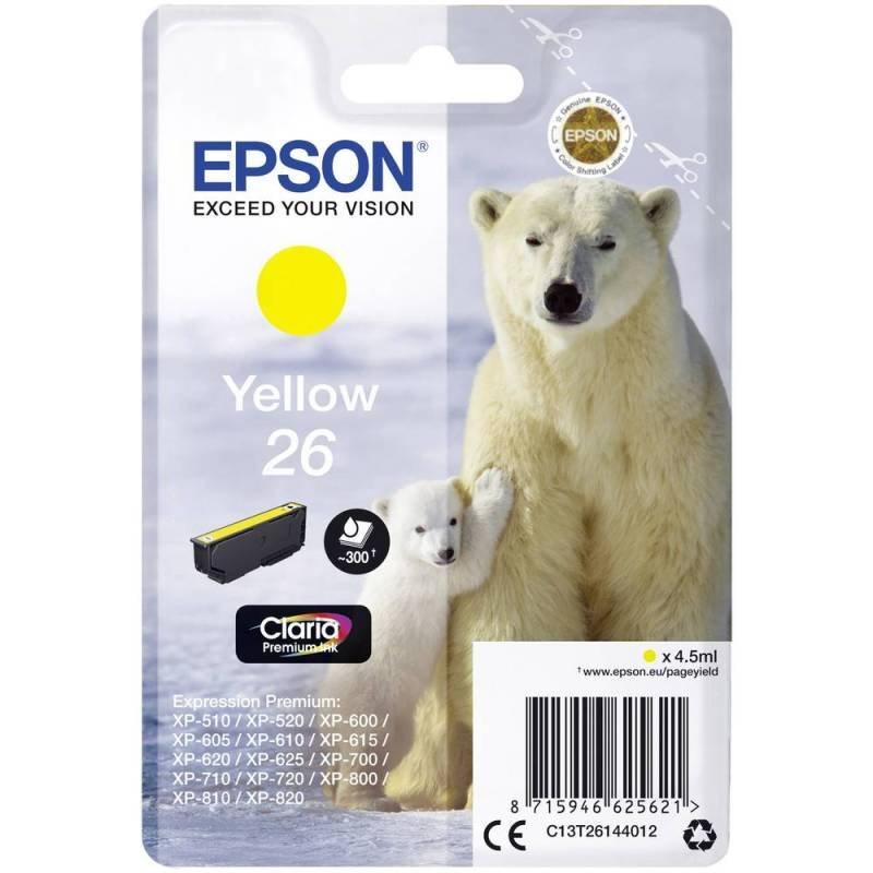 Epson Ink/26 Polar Bear 4.5ml 300 Page Yield Yellow - C13T26144012