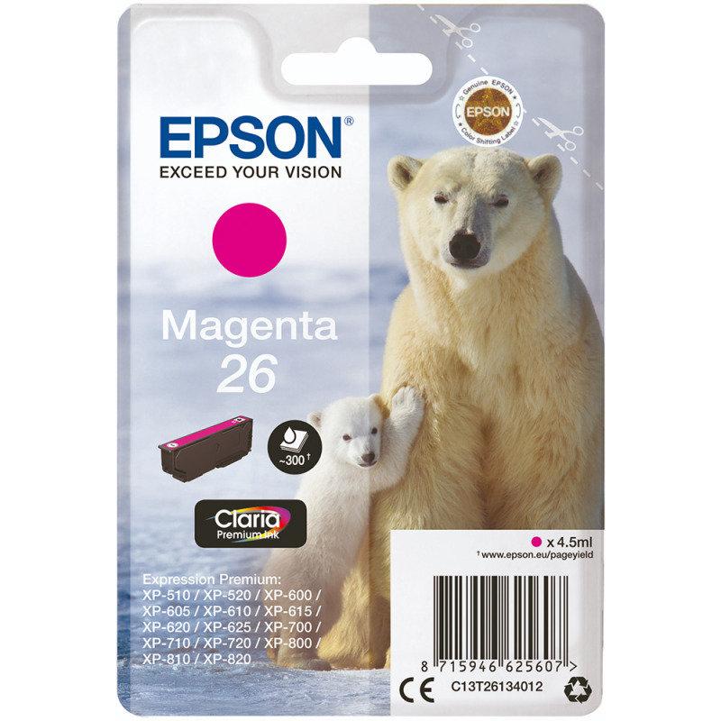 Epson Ink/26 Polar Bear 4.5ml 300 Page Yield Magenta - C13T26134012