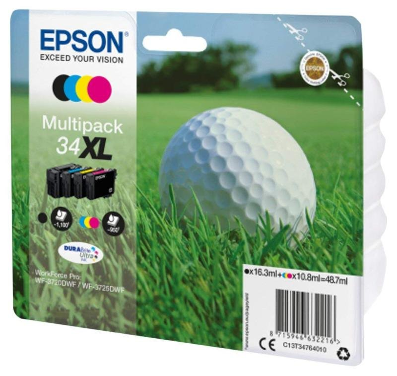 Ink/34XL Golf Ball 1100 Page Yield, CYMK - C13T34764010