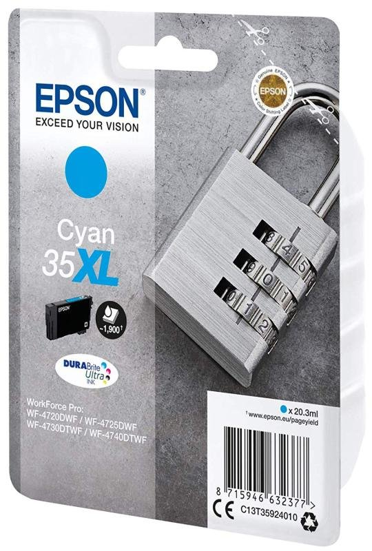 Epson Ink/35XL Padlock 20.3ml 1900 Page Yield, Cyan - C13T35924010