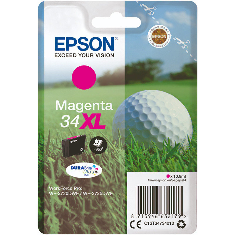 Epson Ink/34XL Golf Ball 10.8ml 950 Page Yield, Magenta - C13T34734010