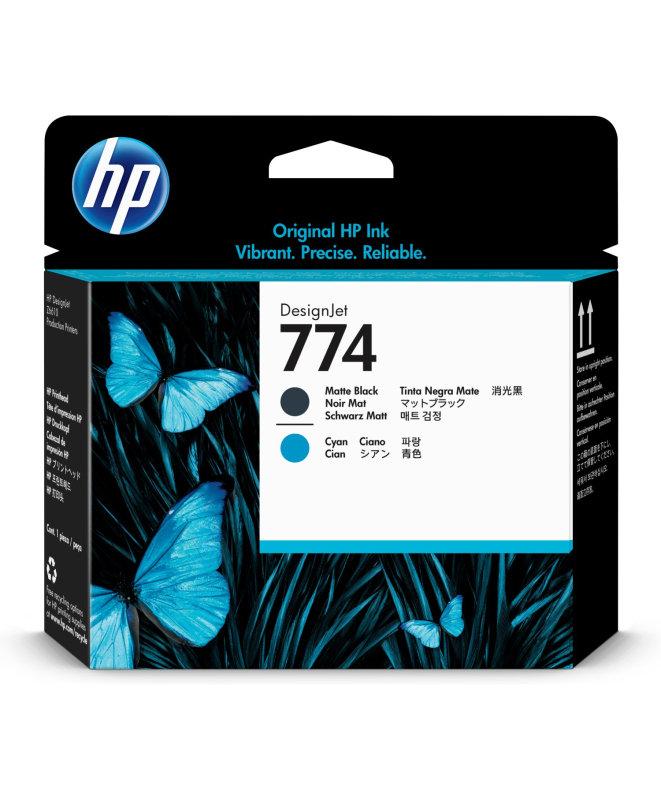 HP 774 Matte Black and Cyan Printhead - P2W01A