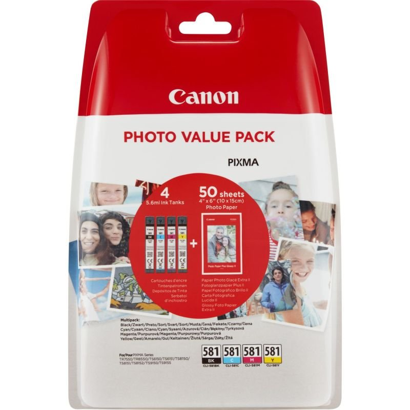 Canon CLI-581 Ink Cartridge Multipack / 50 Sheets 4x6 Photo Paper - (2106C005)