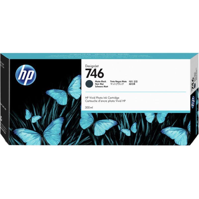 HP 746 Matte Black OriginalDesignjetInk Cartridge - Standard Yield 300ml - P2V83A