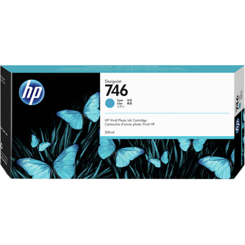 HP 746 Cyan OriginalDesignjet Ink Cartridge - Standard Yield 300ml - P2V80A