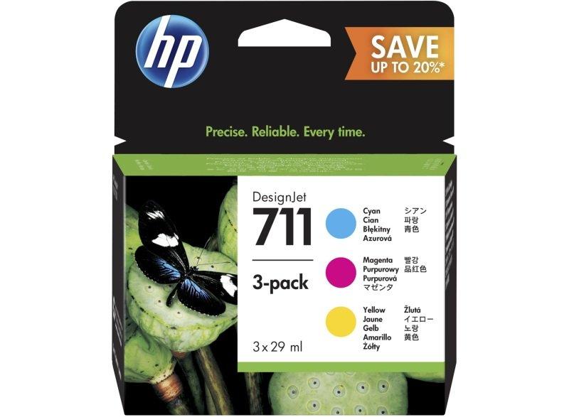 HP 711 Tri-Colour Original, Multi-packInk Cartridge - Standard Yield 3 x 29ml - P2V32A