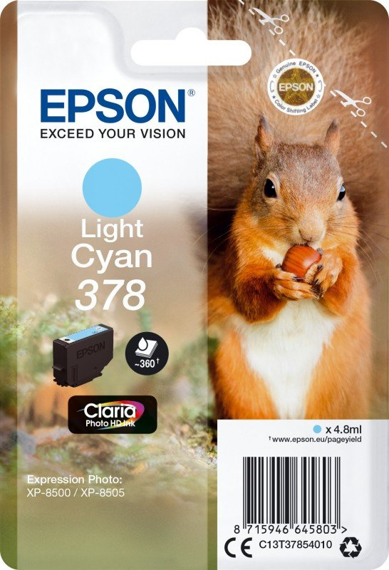 Epson Ink/378 Squirrel 4.8ml Light Cyan - C13T37854010