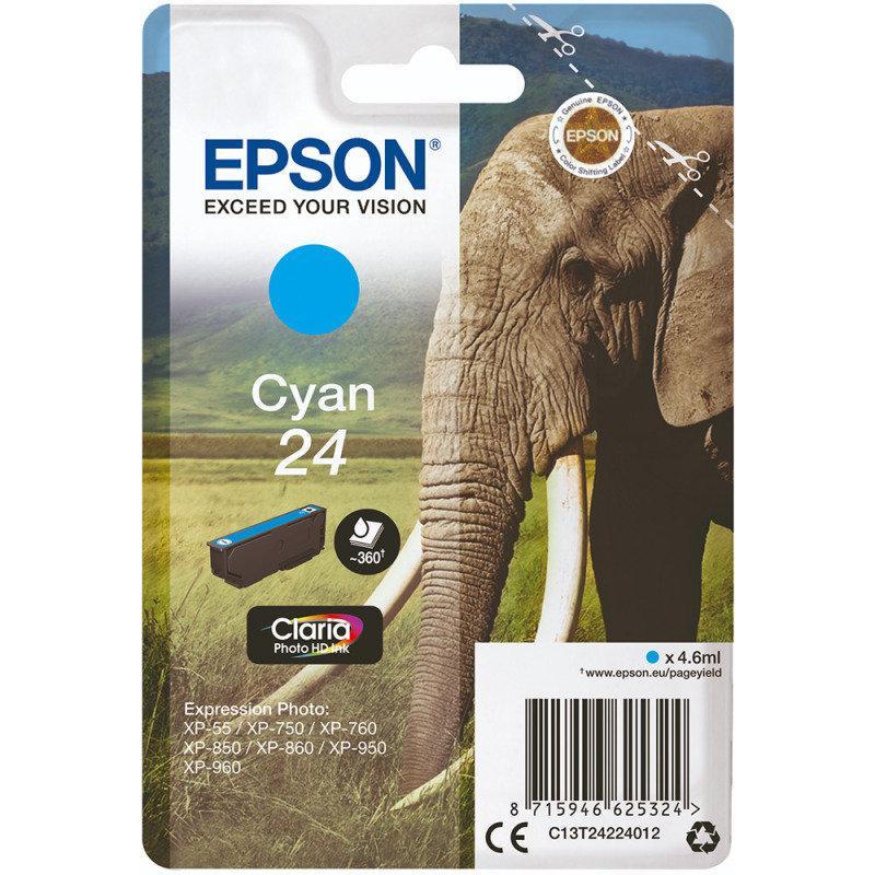 Epson Ink/24 Elephant 4.6ml Cartridge, Cyan - C13T24224012