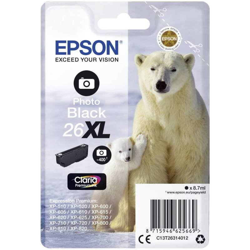 Epson Ink/26XL Polar Bear 8.7ml Cartridge, Photo Black - C13T26314012