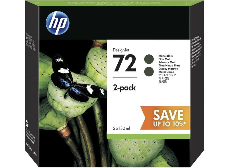 HP 72 Multi-pack 2x Matte Black Original Ink Cartridge - High Yield 130ml - P2V33A
