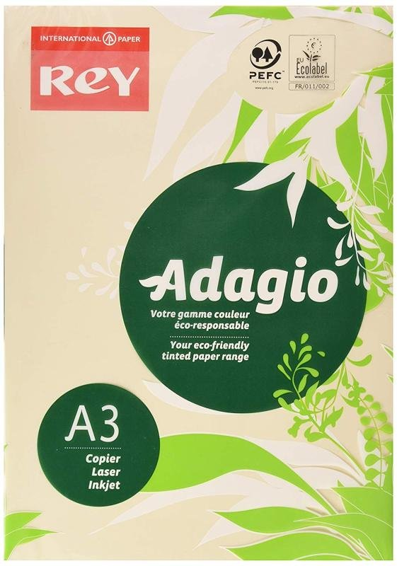 Rey Adagio (A3) 80g/m2 Paper Ivory (500 Sheets)