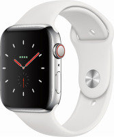 Apple Watch Series 4 GPS + Cellular, 40mm Stainless Steel Case with White Sport Band