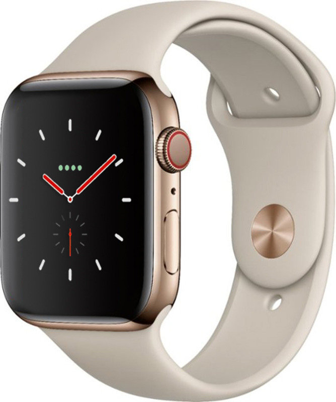 Apple Watch Series 4 GPS + Cellular, 44mm Gold Stainless Steel Case with Stone Sport Band cheapest retail price