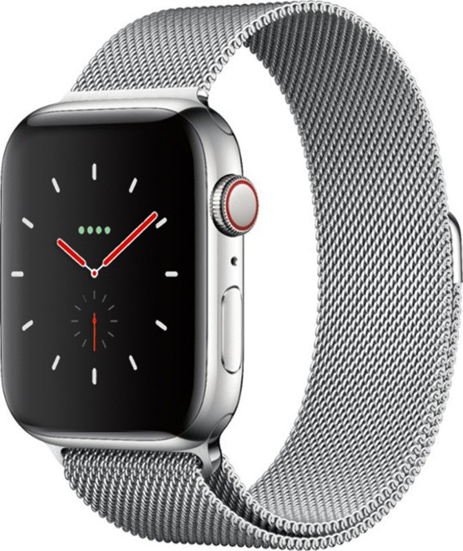 Apple Watch Series 4 GPS + Cellular, 44mm Stainless Steel Case with Milanese Loop