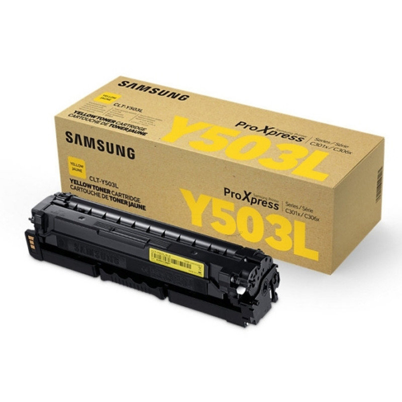 Samsung	CLT-Y503L Yellow Original Toner Cartridge - High Yield 5000 Pages - SU491A
