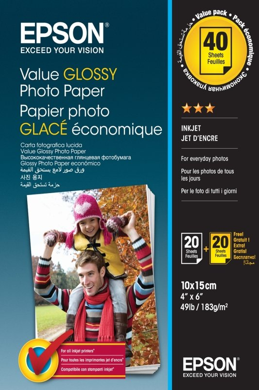 Epson C13S400044 Value Glossy Photo Paper 10 x 15cm - 2 x 20 Sheets