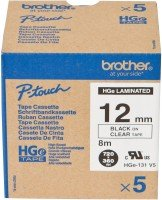Brother HG131V5 Black On Clear Laminated Tape Roll