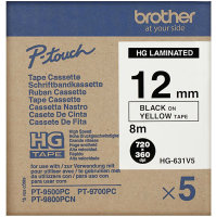 Brother HG631V5 Black On Yellow Laminated Tape Roll