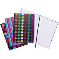 A4 Fashion Assorted Feint Ruled Casebound Notebooks (Pack of 5)