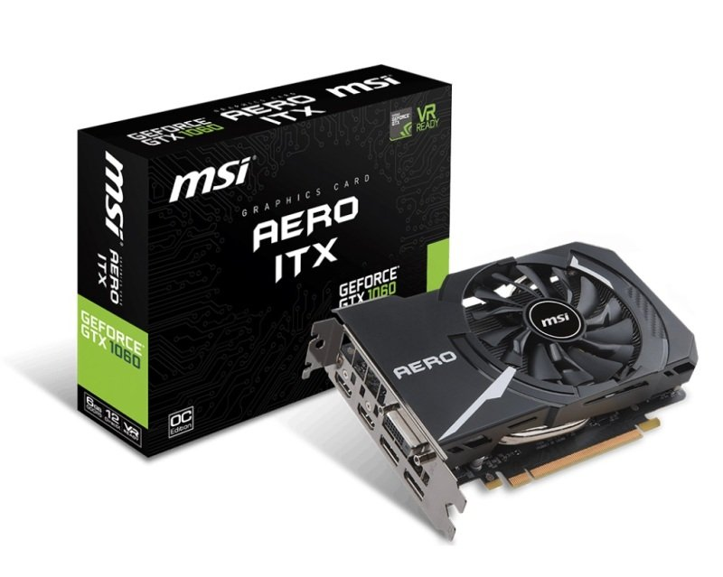 EXDISPLAY MSI GeForce GTX 1060 AERO ITX 6GB OC GDDR5 Graphics Card