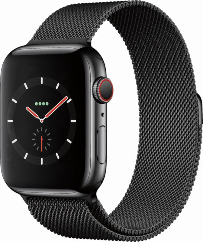 Apple Watch Series 4 GPS + Cellular, 44mm Space Black Stainless Steel Case with Space Black Milanese Loop cheapest retail price