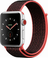 Apple Watch Nike+ GPS + Cellular, 42mm Silver Aluminium Case with Bright Crimson/Black Nike Sport Loop