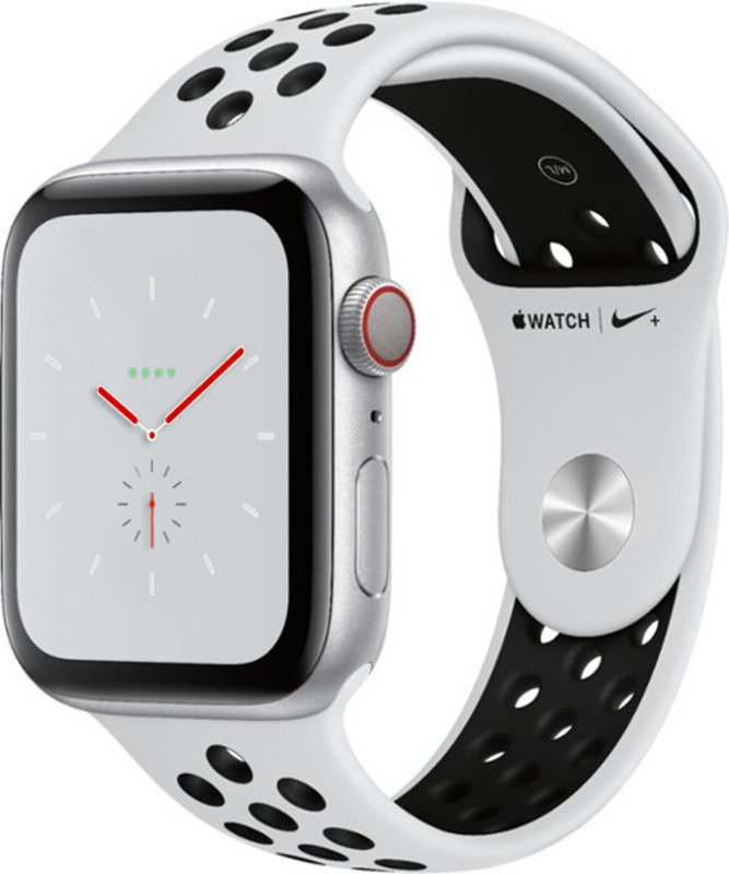 Apple Watch Nike+ Series 4 GPS, 44mm Silver Aluminium Case with Pure Platinum/Black Nike Sport Band cheapest retail price