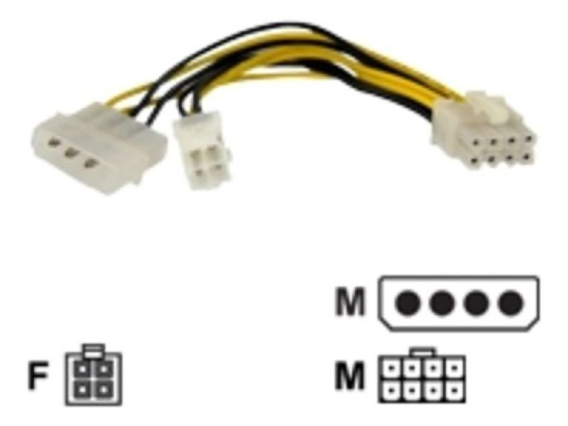 StarTech.com 6in 4 Pin to 8 Pin EPS Power Adapter with LP4 - F/M