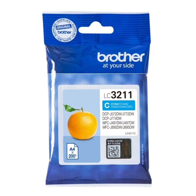 Brother Ink Cartridge Cyan (Standard Yield, 200 Page Capacity)