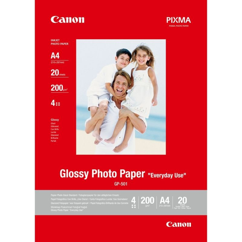 Canon A4 Glossy Photo Paper (Microporous coating for fast ink absorption) x20