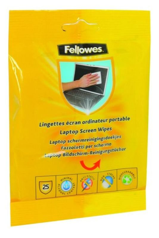 Fellowes Performance Laptop Screen Wipes - 25pk