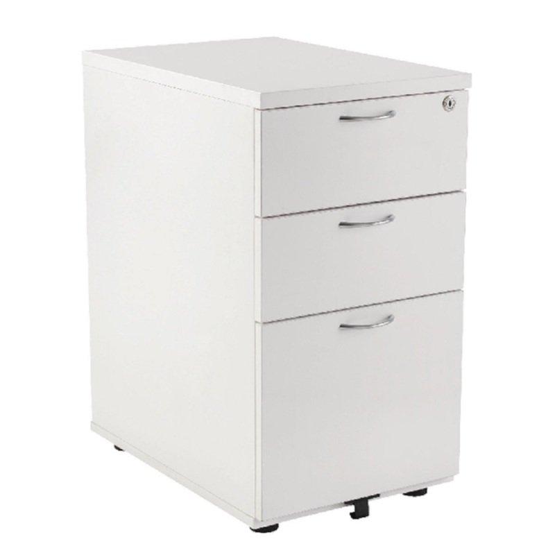 Jemini 3 Drawer Under-Desk Pedestal White KF78664