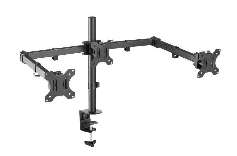 Xenta Triple Monitor Mount for 13-27inch Screens | Double Arm Desk Stand Bracket with Clamp
