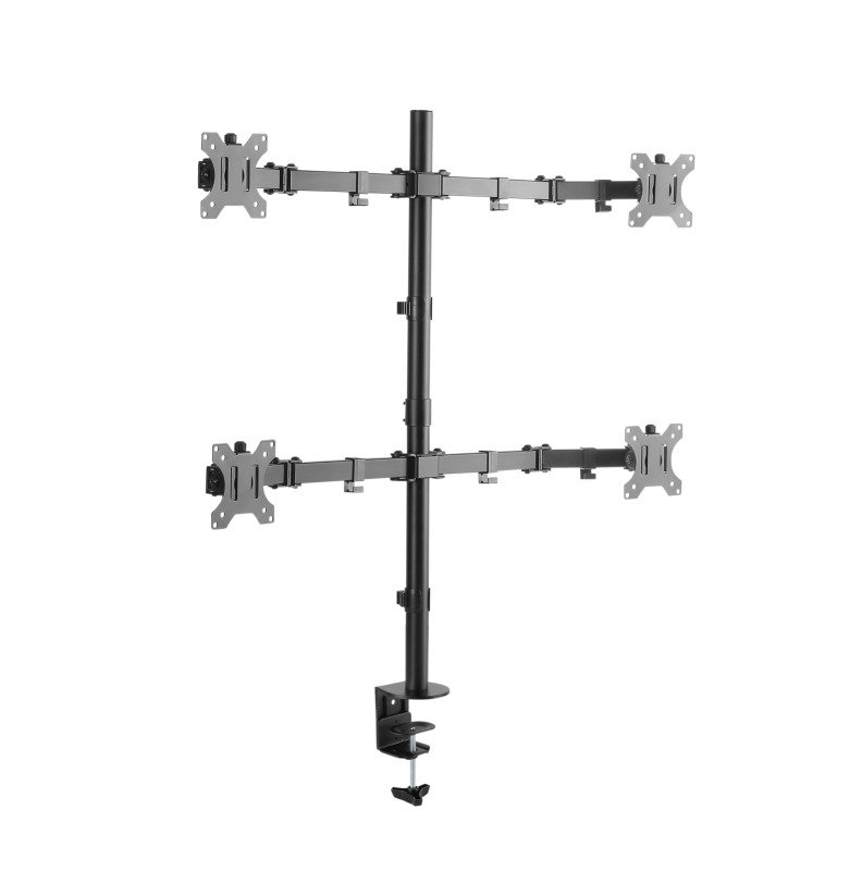 Xenta Quad Monitor Mount for 13-32inch Screens | Double Arm Desk Stand Bracket with Clamp