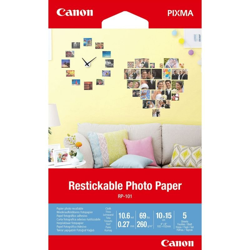 Canon Restickable Photo Paper RP-101 4x6in (Pack of 5)