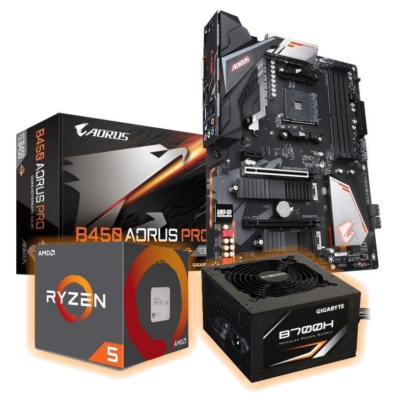 Gigabyte B450 AORUS PRO Motherboard and Ryzen 5 2600 Processor Bundle with FREE Power Supply