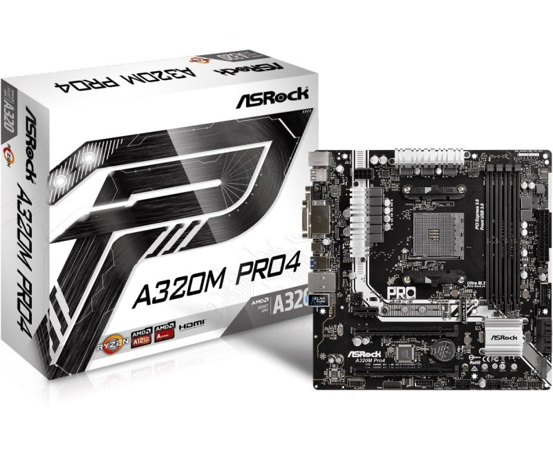 EXDISPLAY ASRock A320M Pro4 socket AM4 Intel DDR4 MicroATX