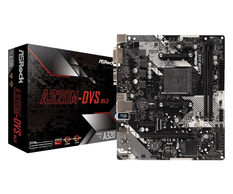 Image of ASRock A320M-DVS R4.0 AM4 DDR4 mATX Motherboard