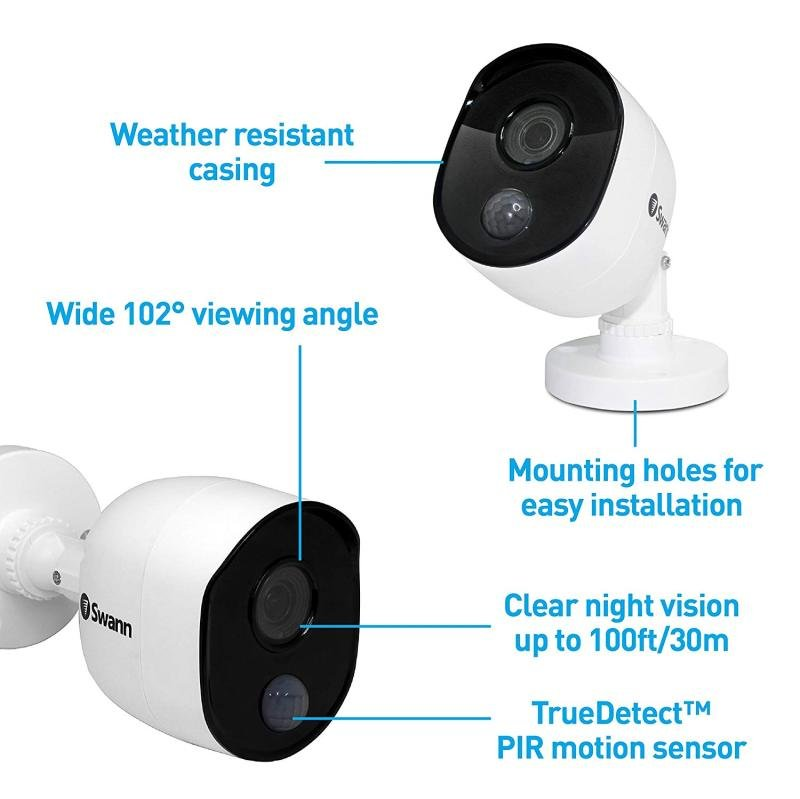 Swann 4 Channel 1080p Wireless Security System NVR NVW-490, 16GB Micro SD  Card, 2 x Wi-Fi Thermal Sensing Cameras NVW-490CAM