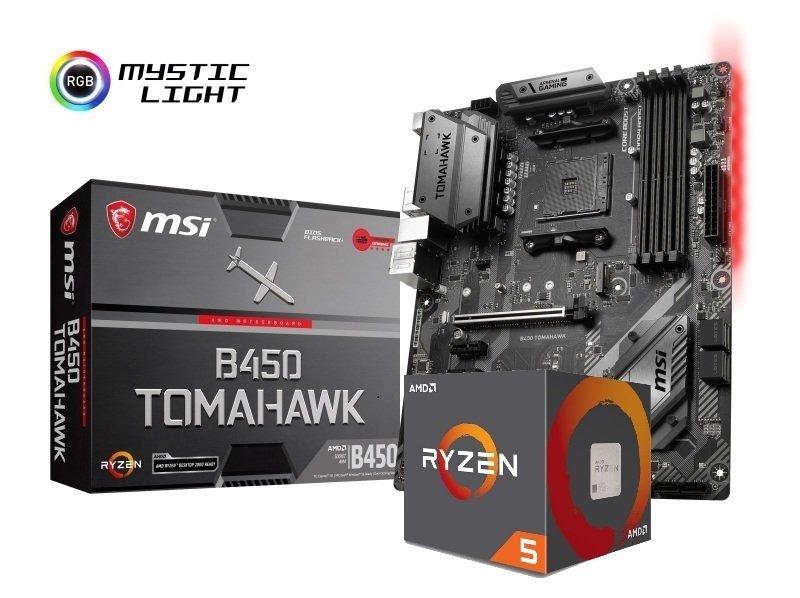 MSI B450 TOMAHAWK Motherboard with Ryzen 5 2600 Processor Bundle