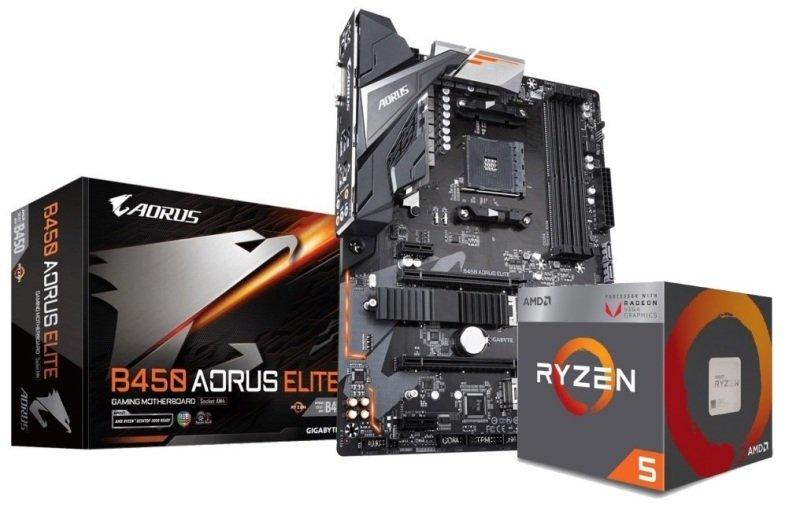 Gigabyte B450 AORUS ELITE Motherboard with AMD RYZEN 5 2400G Processor Bundle
