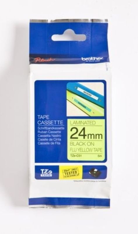 Brother TZe C51 Fluorescent tape- Black on Yellow