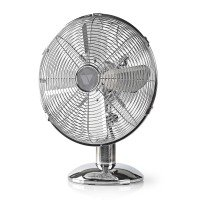 "Vida 12"" Desk Fan, 3 Speed, Quiet Running, Oscillating, Adjustable Angle, Cooling Fan, Chrome"