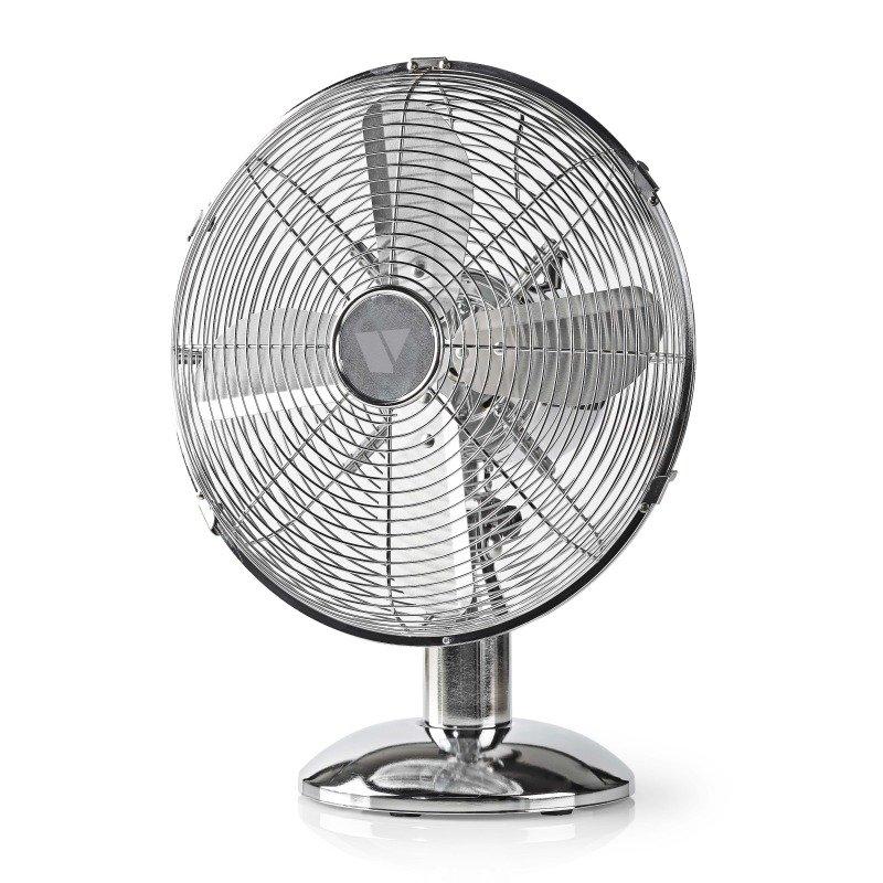 "Vida 12"" Desk Fan, 3 Speed, Quiet Running, Oscillating, Adjustable Angle, Cooling Fan, Chrome"