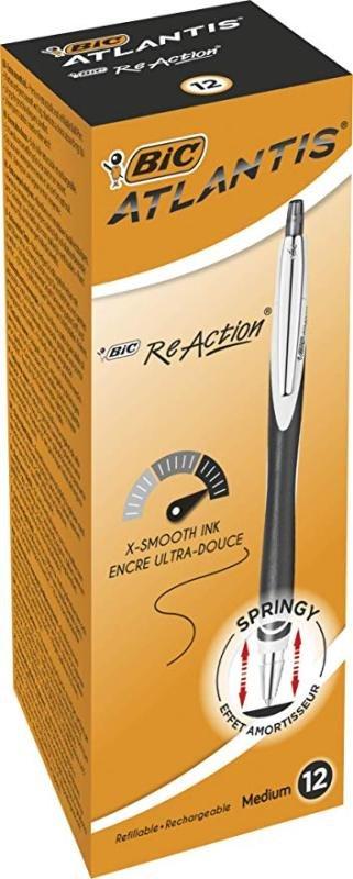 Bic ReAction Ballpoint Pen - Black  (Pack of 12)
