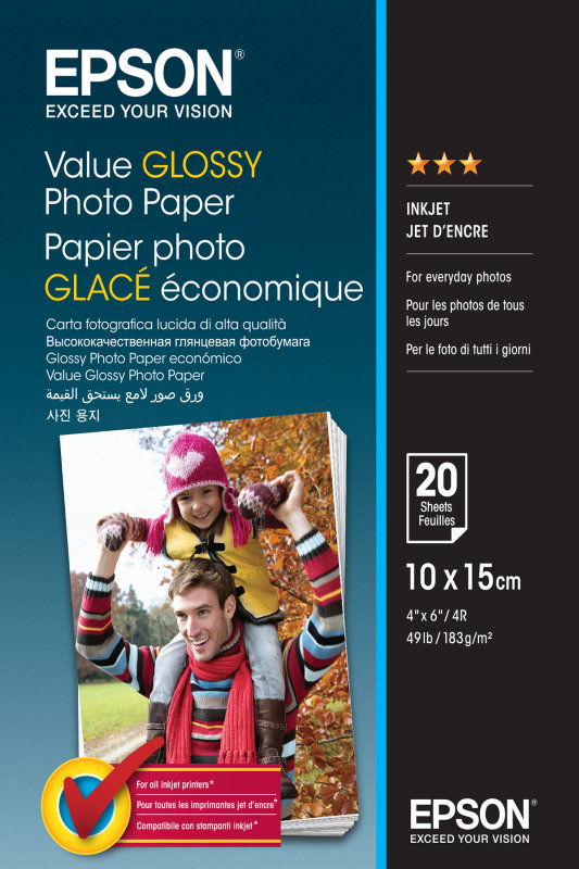 Epson Value - Glossy - 100 x 150 mm - 183 g/m² - 20 sheet(s) photo paper - for Epson L382, L386, L486, Expression Home HD XP-15000, Expression Premium XP-900