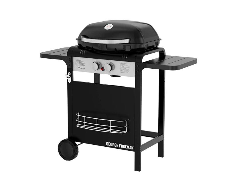 George Foreman GFGBBQ2B 2 Burner Gas Barbecue with Automatic Ignition, Black, Gas BBQ